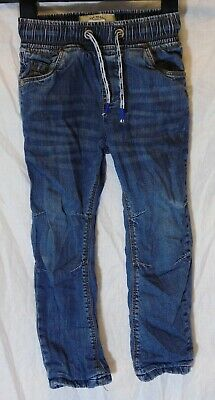 Boys Next Blue Whiskered Denim Drawstring Warm Cotton Lined Jeans Age 2-3 Years