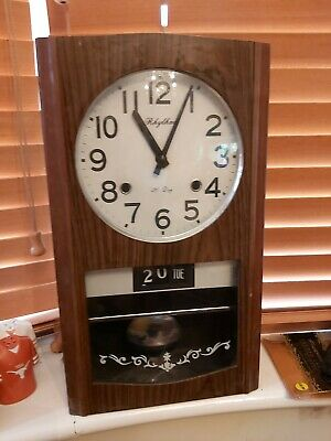 Vintage 1960s RHYTHM 30 Day Wooden Wall Clock + Day Date & Chime Made in Japan