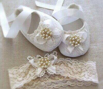 Baby Girl OFF White Christening Baptism Shoes Crochet Butterfly Pearl Rhinestone