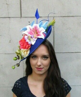Light Pink Royal Blue Green Floral Large Teardrop Flower Hat Fascinator 9017
