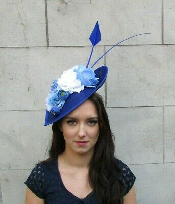 Royal Blue White Light Blue Floral Large Teardrop Flower Hat Fascinator 9018