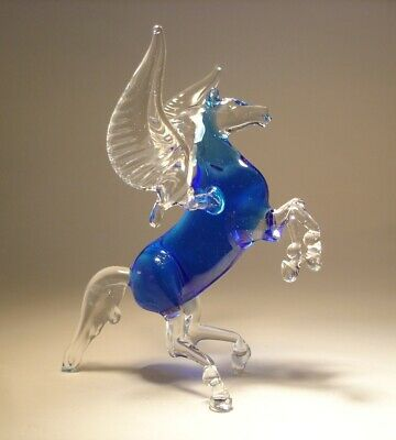 Blown Glass Figurine Animal Blue and Clear Rearing Horse PEGASUS