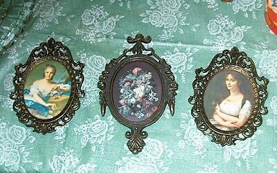 """3 Vintage Ornate Metal Brass? Miniature 5½"""" x 4""""  Picture Frames Made in Italy"""