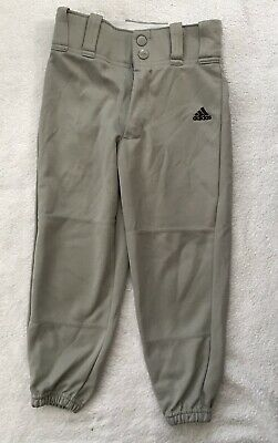 Adidas ClimaLite Baseball pants Youth Boys Girls XS Gray Buttons Zip Elastic Wst