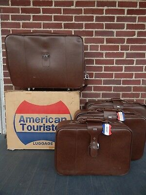 VINTAGE American Tourister 5 Piece Luggage Set BROWN Soft Side Suitcase Tote Bag