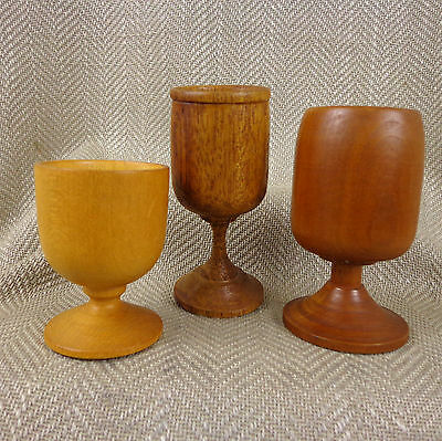 Vintage Wooden Cups Goblet Chalice Hand Turned Exotic Wood Treen