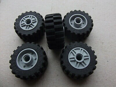 Mindstorms Lego 30.4x14 Technic Wheels LOT OF 4 with Gray Rims 55981 /& 30391