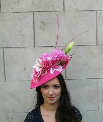 Light & Hot Pink Orchid Lily Large Flower Hat Fascinator Hair Big Ascot 9028