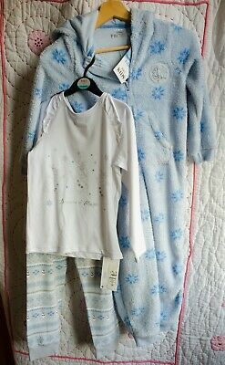 MARKS AND SPENCER Disney FROZEN white PYJAMAS &  Blue one piece age 5-6 & 6-7