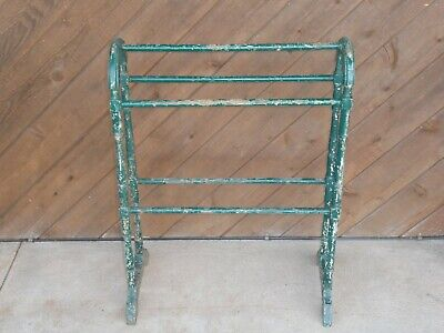 Antique Victorian Primitive Old Chippy Green Paint Quilt Rack Vintage Stand