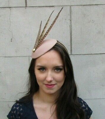 Nude Gold Brown Pheasant Feather Hat Fascinator Races Hair Cheltenham Vtg 9032
