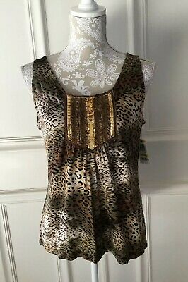 Nwt Alfani Womens Top Animal Print Sleeveless Sequins Size Petite Medium