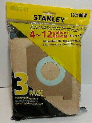 Stanley 19-3100W Dry Pick Up Disposable Filter Bags One Pack Of 3 Bags