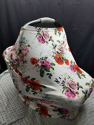 Rose Covered Nursing Cover Multi-Use Car Seat Canopy Cover Infant Newborn
