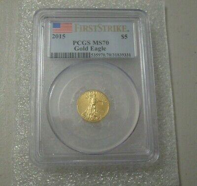 2015 - $5 1/10oz American Gold Eagle MS70 PCGS First Strike Flag