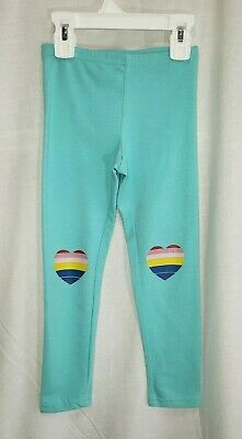 Old Navy Girls Sz XS 5 Green Blue MulticolorHeart Knees Full Length Leggings New