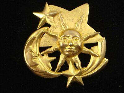 Sun and Moon Pendant Charm Antique Gold Tone GC1085