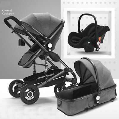 New 3 in 1 Bassinet&Car Seat Foldable Baby Stroller High View Pushchairs Black