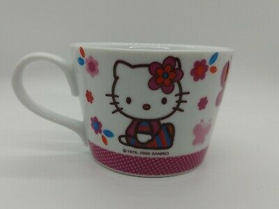 Vintage Sanrio HELLO KITTY  1976, 2005 Butterflies Flowers Cup Mug RARE