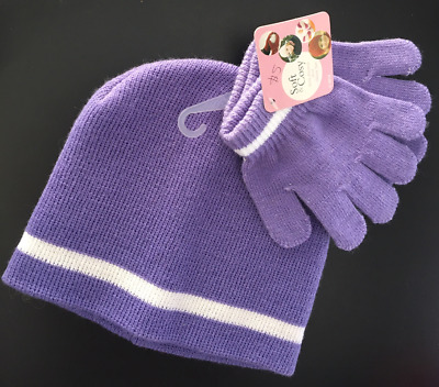 New Purple Soft and Cosy Knit Gloves and Beanie Girls Set