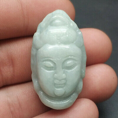 Chinese Hand-carved aristocratic wearing Jadeite jade pendant (jade Buddha head)