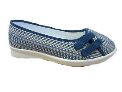 DB Aura Navy Wide Fit 2E Width Stripe Canvas Shoes With Touch Straps UK 3