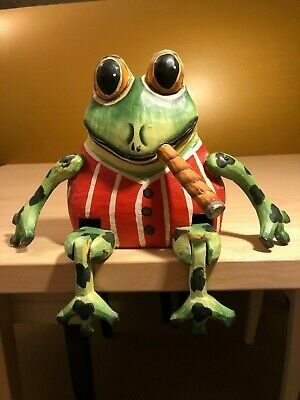 Vintage Handmade Hand Painted Wooden Display Frog Figurine w/ Moving Arms & Legs
