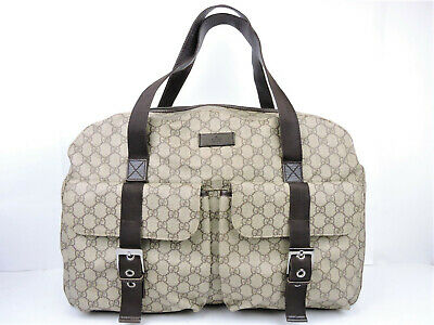Authentic Gucci Made In Italy Gg Pvc Canvas Large Gym Travel Luggage Duffle Bag