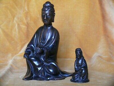 Two Chinese Bronze Figures of Guanyin, Qing Dynasty