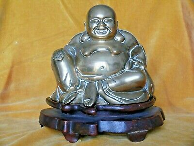 A Large Chinese Brass Figure of Budai, with Carved Wood Stand, 20th Century