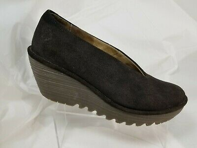 FLY LONDON Brown Suede Wedge Slip on Shoes Size 8 - 8.5
