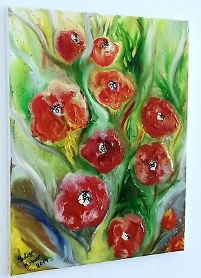 Original Abstract Poppies Flowers Oil Canvas Painting Art by Yuliya Krimer New