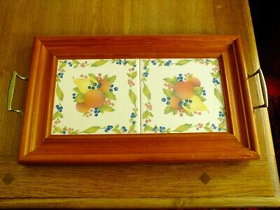Victorian Styled Tile & Pine Serving Tray.