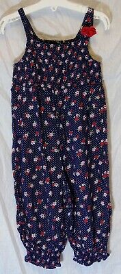 Girls George Blue Red Floral Pink Spot Flower Cuffed Jumpsuit Age 5-6 Years