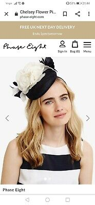 Phase Eight chelsey Navy Ivory Pillbox Fascinator Wedding Races Occasion