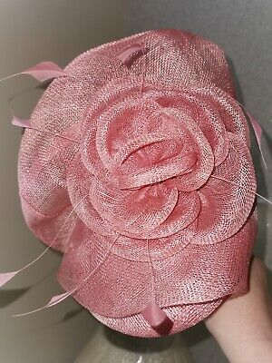 Rose Pink large pill box Fascinator Wedding Mother of Bride Races occasions
