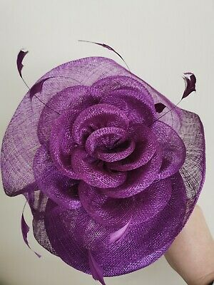 Purple pill box large Fascinator Weddings  Races occasions mother of bride