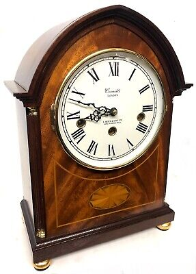 Comitti Of London Mahogany Musical 3 Train Bracket Clock Marquetry Inlaid