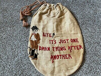Antique Arts & Crafts Linen Embroidered Draw String Bag Purse