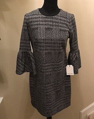 Calvin Klein Women's Dress Black Gray Size 6 Sheath Bell-Sleeve NWT