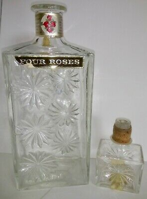 Vintage Four Roses Whiskey Bottle Decanter With Stopper 1960's Ex Cond. Glass