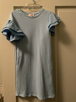 Girs Light Blue Dress With Ruffle Sleeves-size M-never Worn