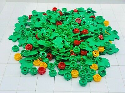 Red Flowers Lot Lego Plant Flower Round 1X1 With 3 Leaves Bright Green