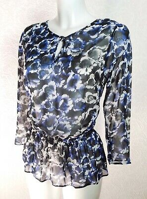 TU blue black floral sheer chiffon Ruffle hem 3/4 sleeve Peplum top blouse sz 10