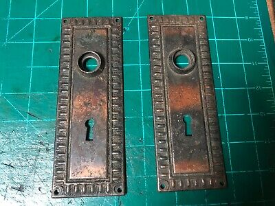 VINTAGE ANTIQUE DOOR LOCK PLATES WITH KEY hole SET OF 2 victorian old