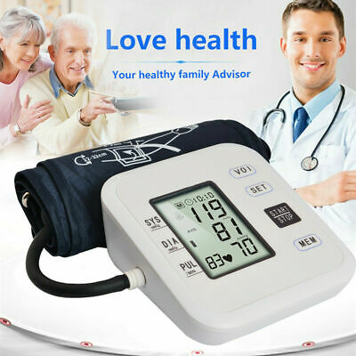 Digital LCD Upper Arm Blood Pressure Monitor Heart Rate Meter Voice Broadcast US