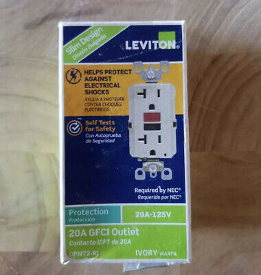 Leviton Ivory GFCI Outlet 20 Amp 125-Volt Combo Self-Test Blank Face Receptacles