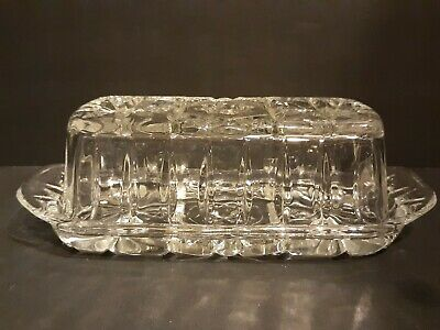 American Presscut Anchor Hocking Glass Covered Butter Dish Star of David Design