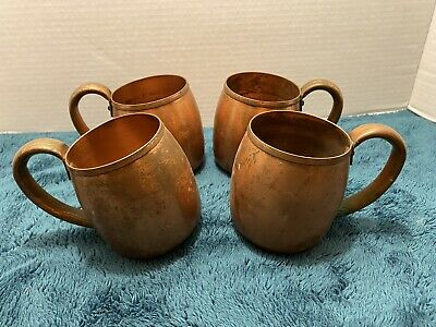 Vintage West Bend Aluminum Co. Solid Copper Mugs-Set of 4