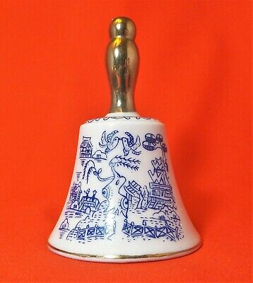 Vintage Enesco Blue Willow Bell Gold Handle Blue and White